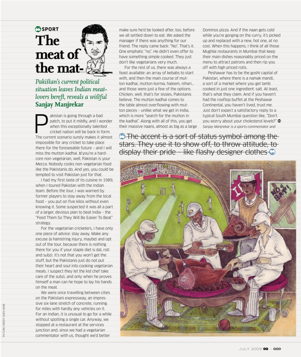 GQ India - Talk Sport - Meat of the Matter Article (Jul 2009)