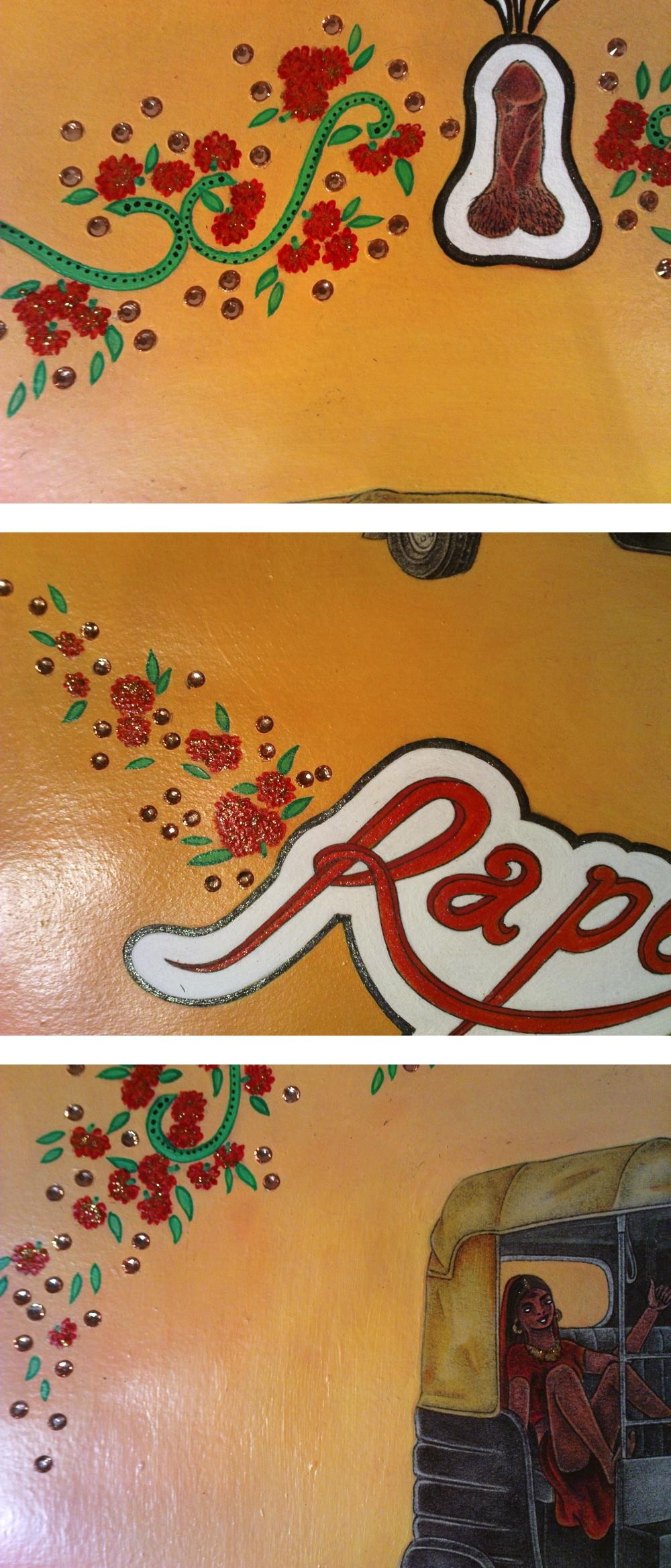 Rape Rick Rhinestones Closeup