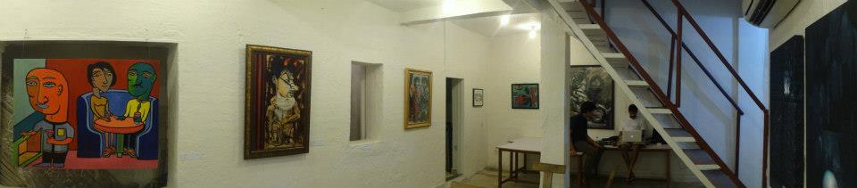 Panorama of the gallery space inside