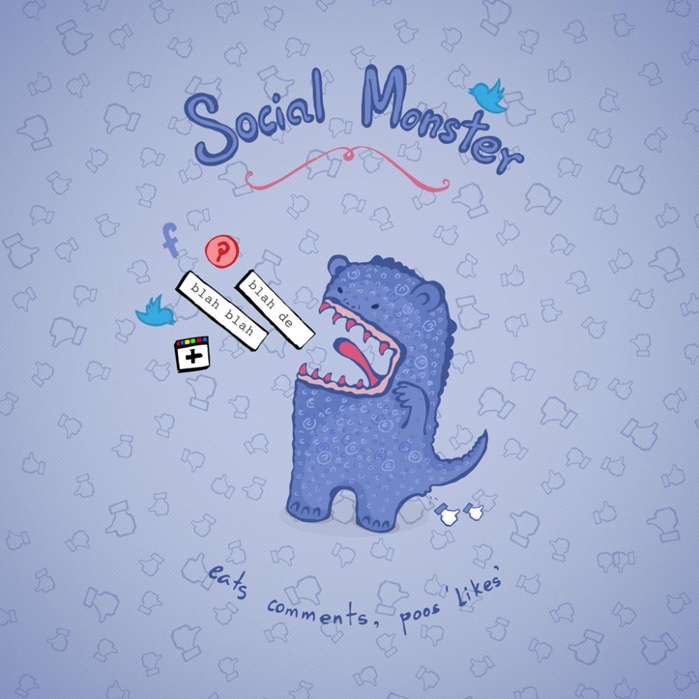 Social Monster Society6 Pillow Blue Web