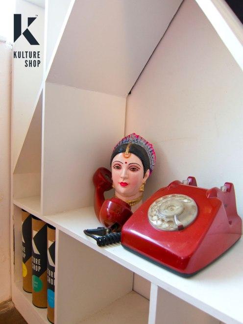 Indian Doll head & retro telephone