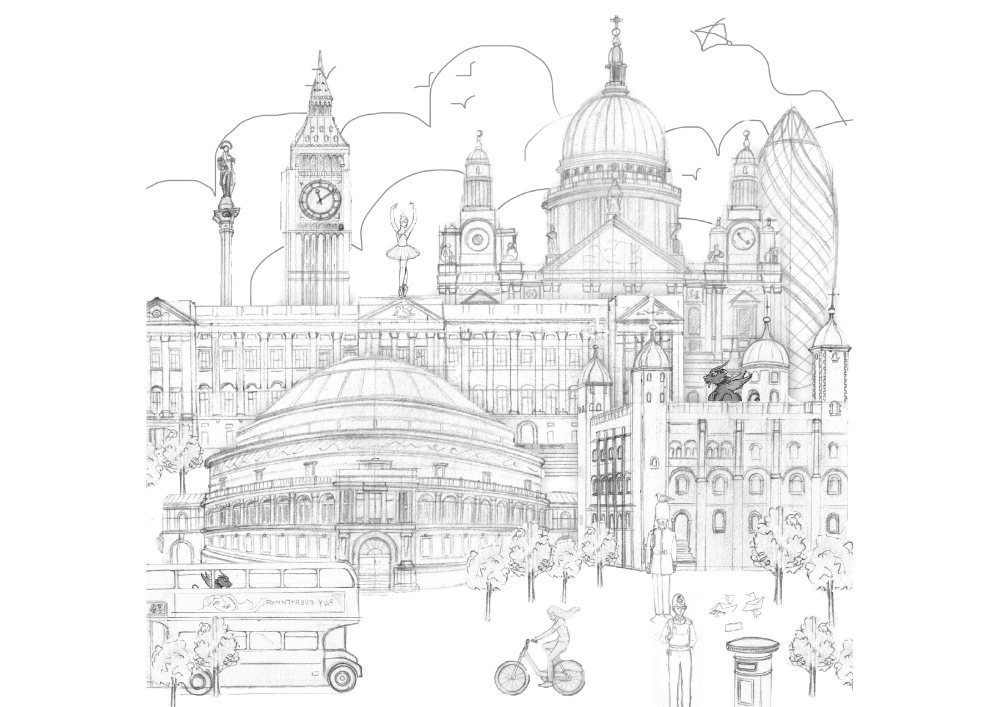 Large wall Mural of London 1.4 x 1.4 M | Layout Sketch & Roughs
