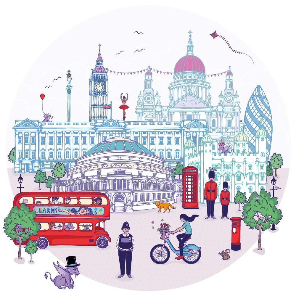 Large wall Mural of London 1.4 x 1.4 M | Final